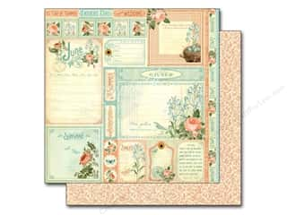 "Summer Stamps: Graphic 45 A Time To Flourish Collection Paper 12""x 12"" Cut Apart June (25 pieces)"