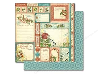 "Summer Stamps: Graphic 45 A Time To Flourish Collection Paper 12""x 12"" Cut Apart July (25 pieces)"