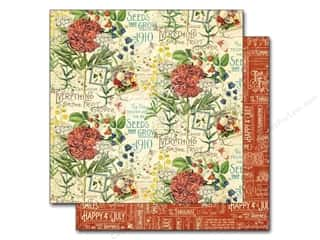 "Fruit & Vegetables Scrapbooking & Paper Crafts: Graphic 45 A Time To Flourish Collection Paper 12""x 12"" July (25 pieces)"