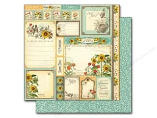 "Summer Stamps: Graphic 45 A Time To Flourish Collection Paper 12""x 12"" Cut Apart August (25 pieces)"