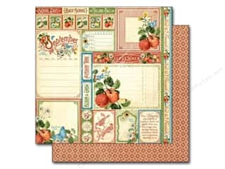 "Fruit & Vegetables Back To School: Graphic 45 A Time To Flourish Collection Paper 12""x 12"" Cut Apart September (25 pieces)"