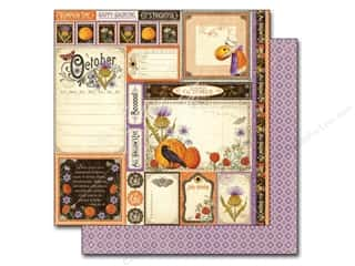 "Graphic 45 Halloween: Graphic 45 A Time To Flourish Collection Paper 12""x 12"" Cut Apart October (25 pieces)"