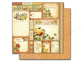 "Rubber Stamping Fall / Thanksgiving: Graphic 45 A Time To Flourish Collection Paper 12""x 12"" Cut Apart November (25 pieces)"