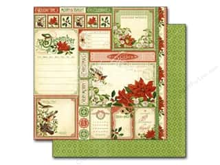 "Graphic 45 Christmas: Graphic 45 A Time To Flourish Collection Paper 12""x 12"" Cut Apart December (25 pieces)"
