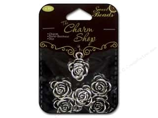 Clearance Sweet Beads EWC Bead: Sweet Beads Charms Metal Rose 6  pc. Silver