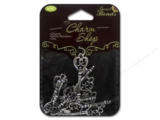 Clearance Sweet Beads EWC Bead: Sweet Beads Charms Metal Key 9 pc. Silver