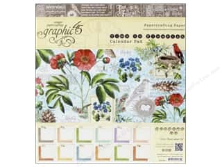 "Cardstock  8x8: Graphic 45 A Time To Flourish Collection Calendar Pad 8""x 8"""