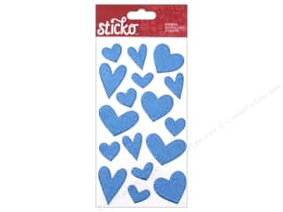 Valentines Day Gifts Stickers: EK Sticko Stickers Valentine Glitter Puffy Heart Blue