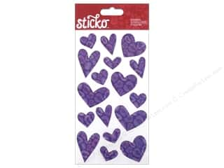 Valentines Day Gifts Stickers: EK Sticko Stickers Valentine Epoxy Hearts Cheetah Purple