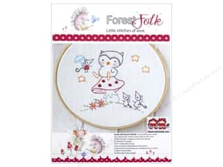 Embroidery New: Red Brolly Kit Forest Folk Owl