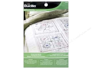 Batting New: Bucilla Stamped Cross Stitch Quilt Block 15 in. Flowers 6 pc.