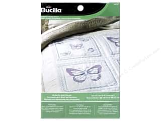 Batting New: Bucilla Stamped Cross Stitch Quilt Block 15 in. Butterfly 6 pc.
