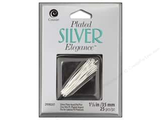 "Findings New: Cousin Elegance Silver Plated Head Pin 1.25"" 25pc"