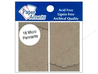 Paper Accents Chipboard Pennants 1 1/4 x 2 in.  Mircro Pointed Scallop 18 pc. Kraft