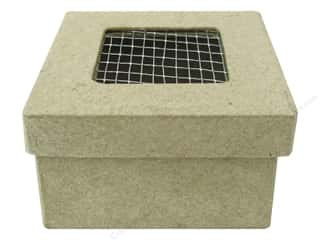 Paper Mache Box Mini Square with Wire on Lid 2 1/2 in. by Craft Pedlars