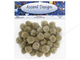 "3/4"" pom poms: Pom Pom by Accent Design 3/4 in. Beige 45 pc."