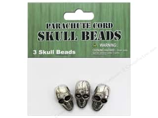 Pepperell Parachute Cord Accessories Metal Skull Bead 3pc