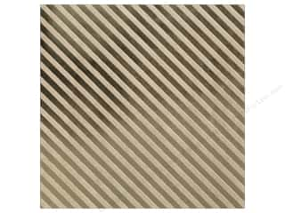 "bazzill paper 12 x 12: Bazzill Paper 12""x 12"" Kraft With Gold Foil Stripe (15 pieces)"