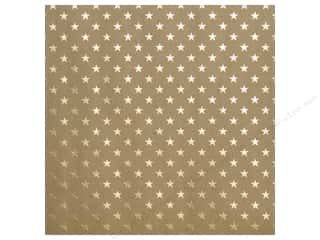 "bazzill paper 12 x 12: Bazzill Paper 12""x 12"" Kraft With Gold Foil Stars (15 pieces)"