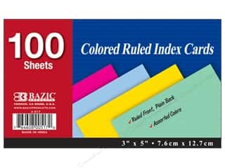 "Cards & Envelopes  5"" x 5"": Bazic Basics Index Cards 3 x 5 in. 100 pc. Ruled Assorted"