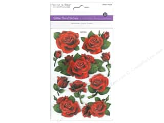 yarn drop: Multicraft Sticker Glitter 3D Floral Red Roses