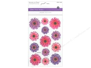 theme stickers  floral: Multicraft Sticker Glitter 3D Floral Ball Mums