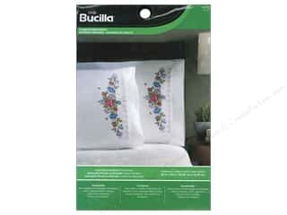 lace yarn: Bucilla Stamped Embroidery Pillowcase Lace Floral Garland