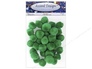 Pom Pom by Accent Design 1 in. Green 40 pc.