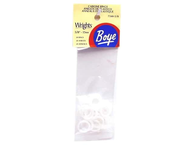 "Boye Yarn Accessories Cabone Rings 5/8"" White 20pc"