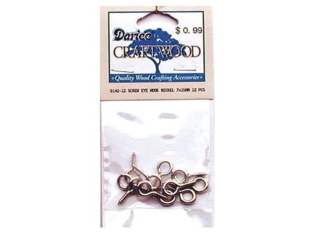 Darice Hardware Craftwood Screw Eye Hook 15mm 12pc