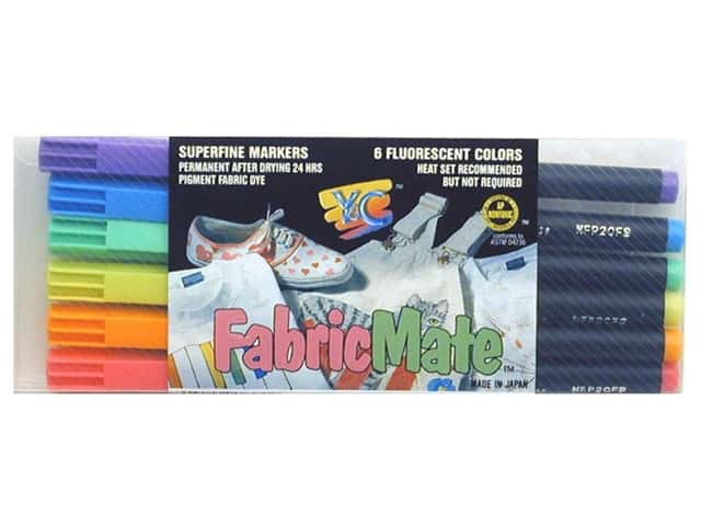 FabricMate Dye Markers Brush Tip Standard Barrel Set Fluorescent 6pc