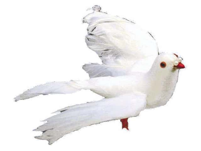 Accent Design Artificial Bird 7 in. Dove White Feather 1 pc.