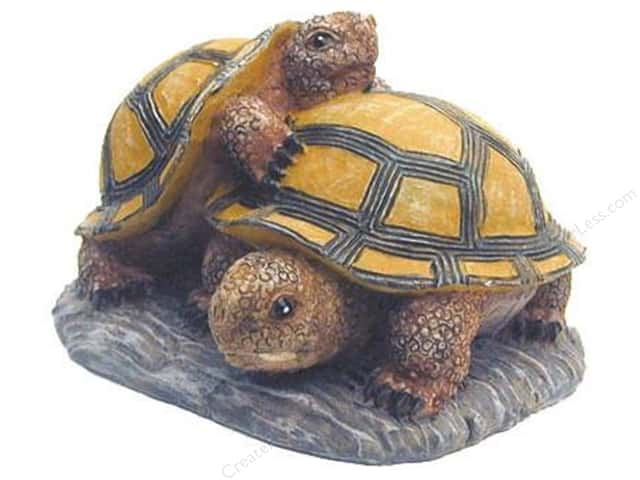 "Accent Design Floral and Garden Accents Garden Friend Resin Turtles 4"" One Climbing On The Other On a Stone-Look Base Unpackaged Rust/Brown/Black"