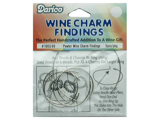 Darice Wine Charm Ring Findings Pewter 5 pc