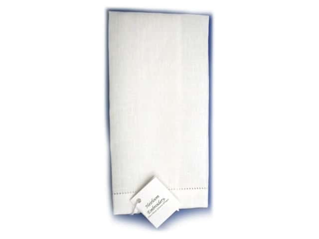 "Ellen Moore Johnson Guest Towel Linen 12""x 18"" White"