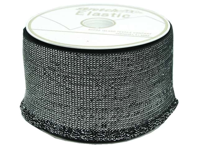 "Rhode Island Elastic Ruffle Roll 3"" Black with Silver Lame (10 yards)"