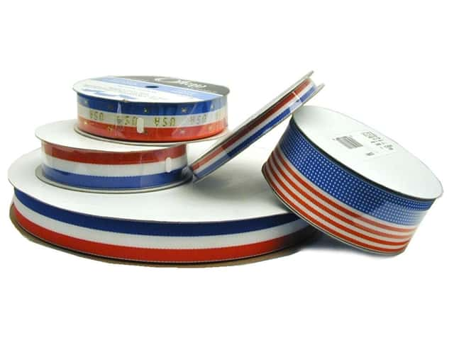 Offray Ribbon Woven Tri-Stripe Red/ White/ Royal