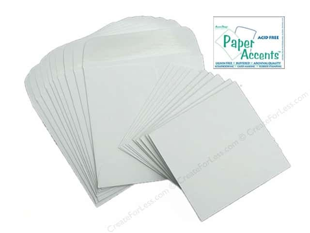 "Paper Accents Card & Envelopes Mini 2.5""x 2.5"" White 10pc"