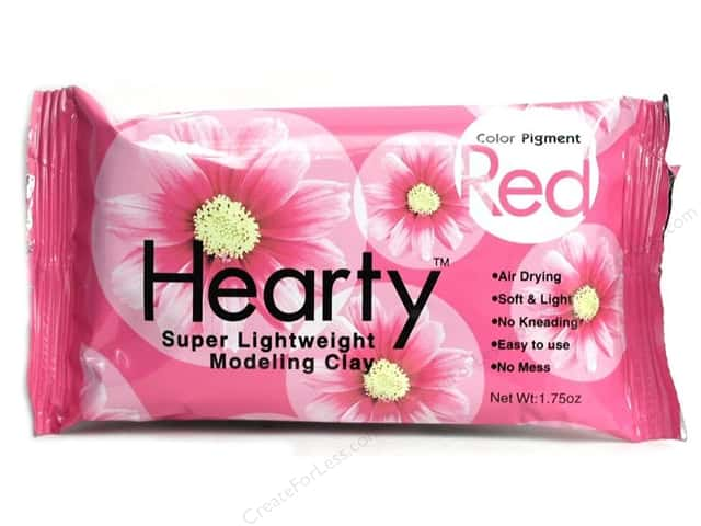 Hearty Lightweight Modeling Clay 1.75 oz Red (3 packages)