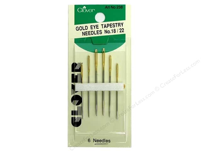 Clover Gold Eye Tapestry Needles Size 18 - 22 6 pc.