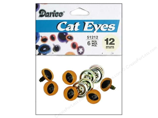 Darice Eyes Cat 12mm with Washer Yellow 6pc