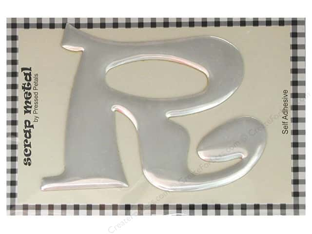 "Pressed Petals Scrap Metal 4"" Silver Alphabet R (3 pieces)"