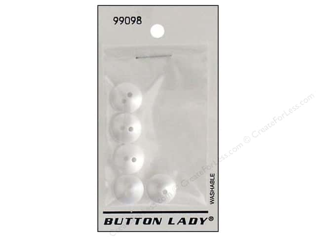 JHB Button Lady Buttons 1/2 in. Opaque Pearl White #99098 5 pc.
