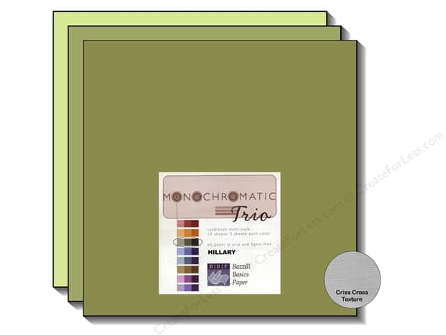 "Bazzill Multi Pack 12""x 12"" Trio 15pc Monochromatic Hillary"