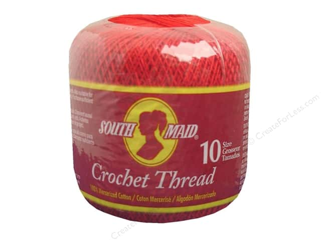 South Maid Crochet Cotton Thread Size 10 Victory Red -- CreateForLess
