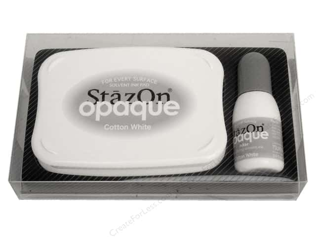 Tsukineko StazOn Large Solvent Ink Stamp Pad Opaque Cotton White