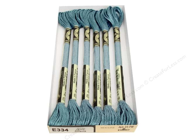 DMC Light Effects Embroidery Floss 8.7 yd. #E334 Jewel Effects Blue Topaz (6 skeins)