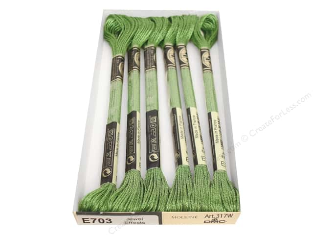 DMC Light Effects Embroidery Floss 8.7 yd. #E703 Jewel Effects Light Green Emerald (6 skeins)