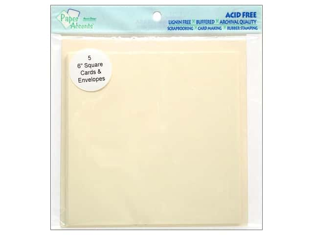 "Paper Accents Card & Envelopes 6""x 6"" Cream 5pc"