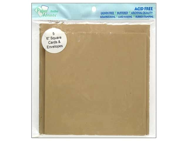 6 x 6 in. Blank Card & Envelopes by Paper Accents 5 pc. Kraft